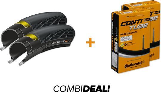 Continental 2x Grand Prix 5000 + 2x Binnenband Combi