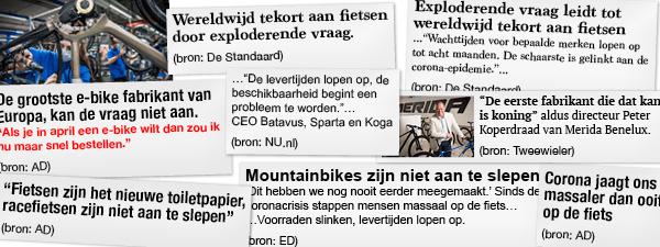 Kranten over schaarste in fietsenbranche