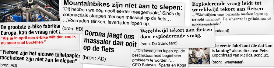 Kranten over exploderende vraag naar fietsen