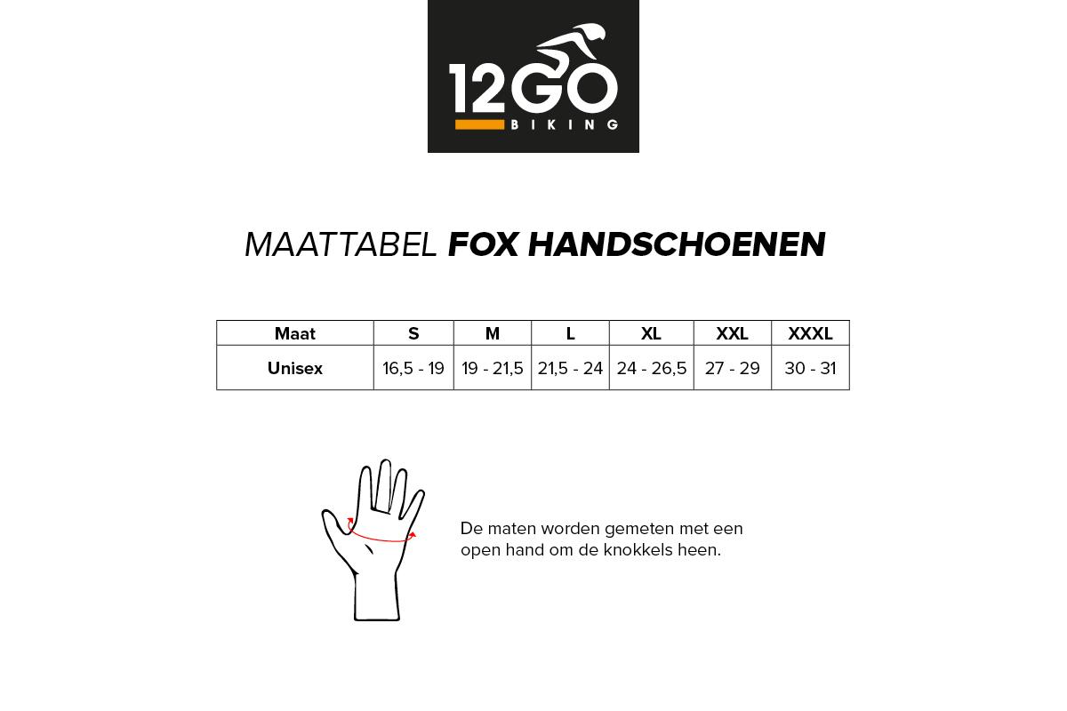 Maattabel Fox handschoenen
