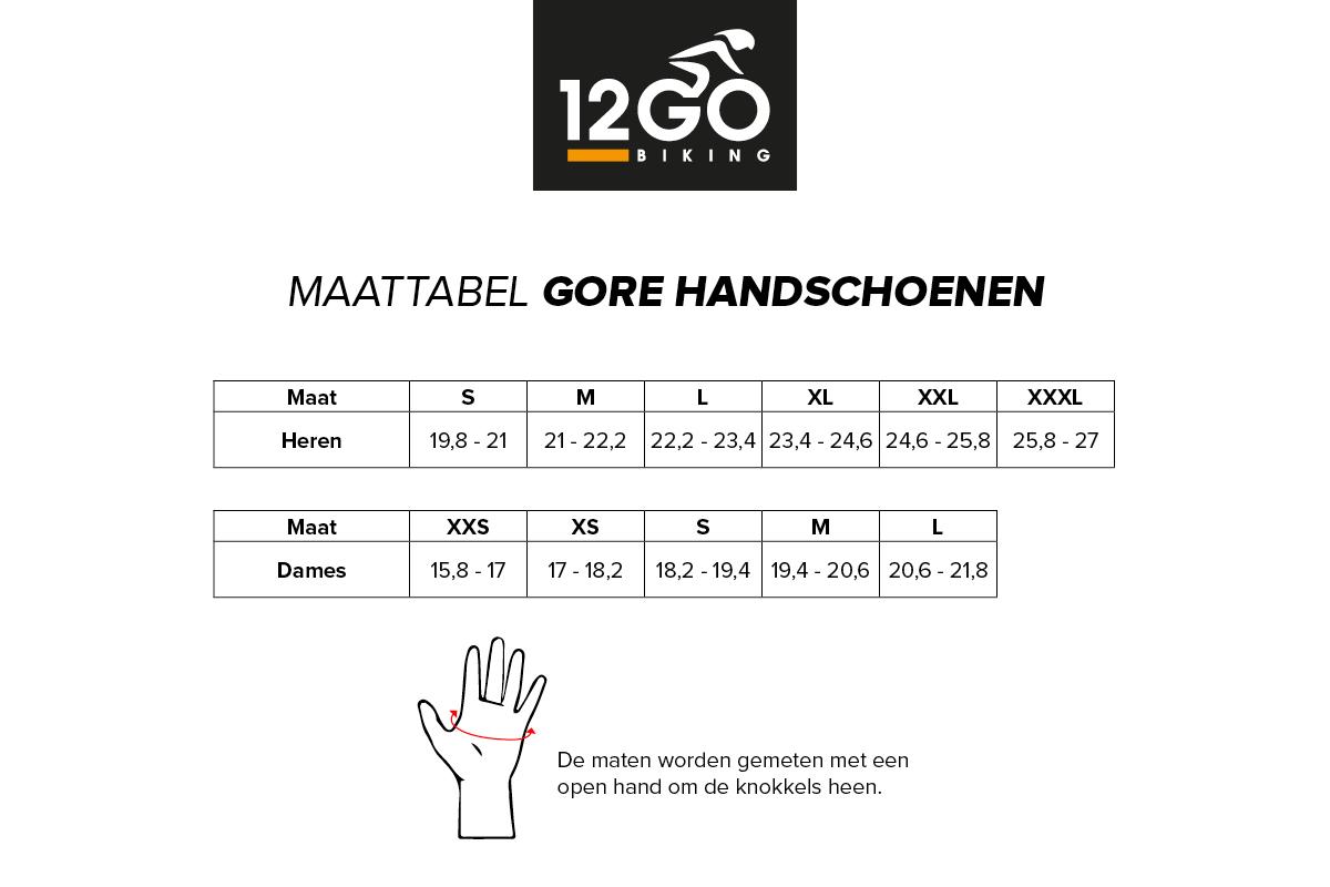 Maattabel gore handschoenen