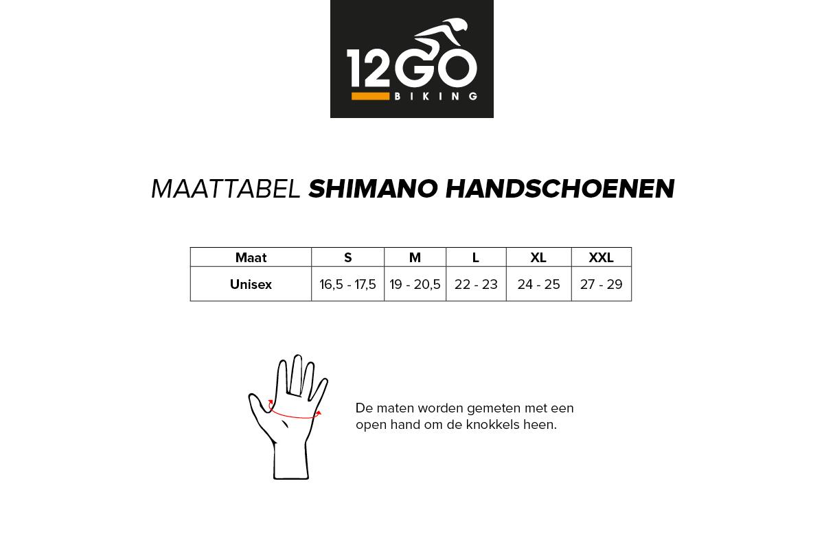 Maattabel Shimano handschoenen