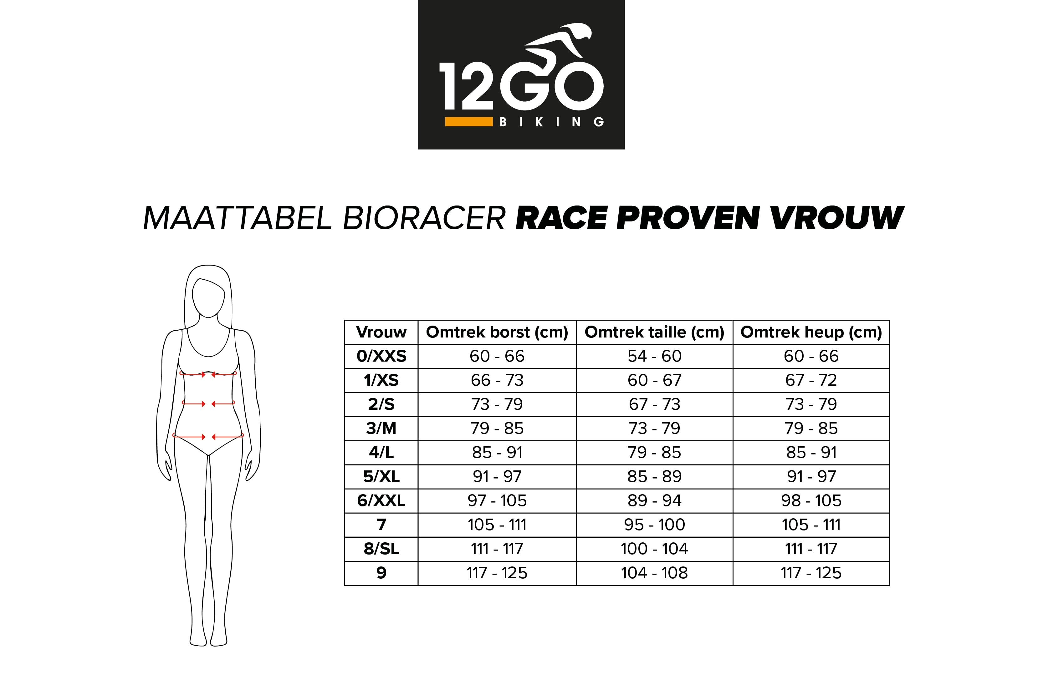 Rave proven vrouwen maattabel bioracer