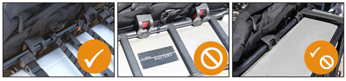 Ruimte tussen accu en bagagedrager